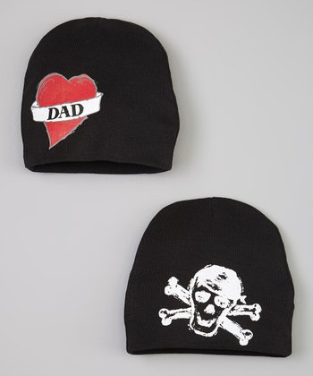 Black 'Dad' & Skull Beanie Set