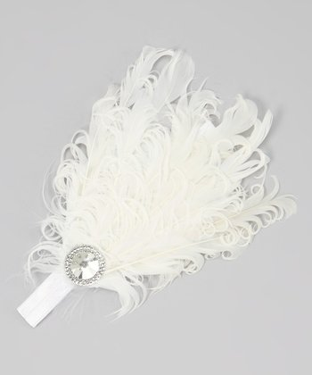 White Rhinestone Feather Headband