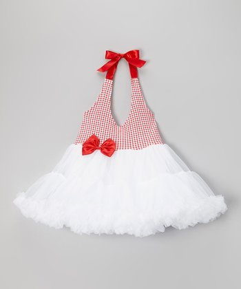 Red & White Gingham Halter Tutu Dress - Girls