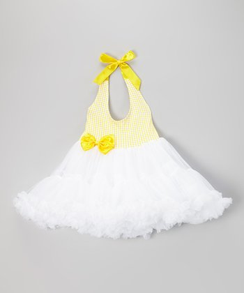 Yellow & White Gingham Halter Tutu Dress - Girls