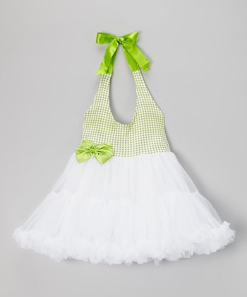 Lime & White Gingham Halter Tutu Dress - Girls