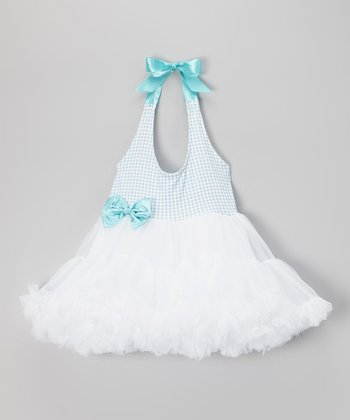 Turquoise & White Gingham Halter Tutu Dress - Girls