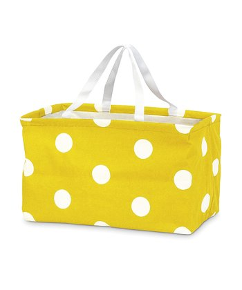 Yellow Polka Dot Rectangle Crunch Shopper