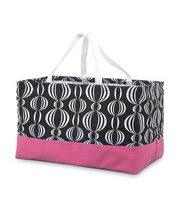 Black & Pink Pearly Girly Rectangle Crunch Shopper