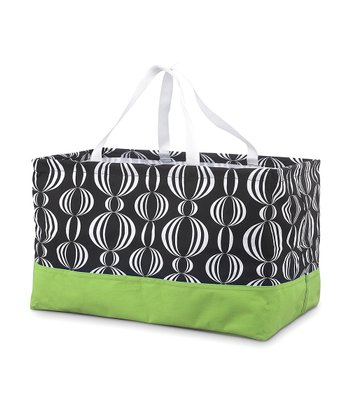 Black & Green Pearly Girly Rectangle Crunch Shopper