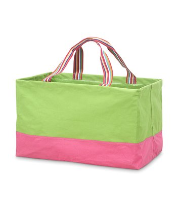 Green & Pink Rectangle Crunch Shopper