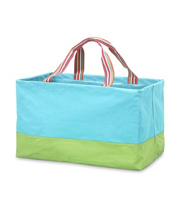 Turquoise & Green Rectangle Crunch Shopper