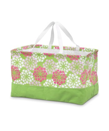 Green & Pink Floral Rectangle Crunch Shopper