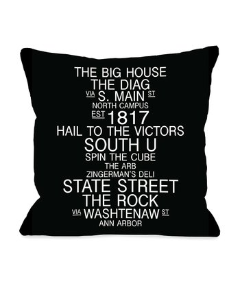 Black & White Michigan Landmarks Throw Pillow