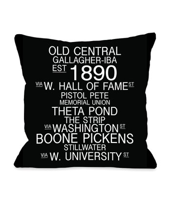 Black & White Oklahoma Landmarks Throw Pillow