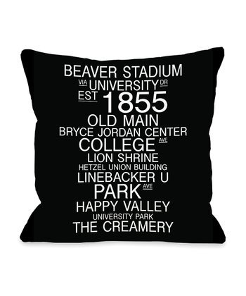 Black & White Pennsylvania Landmarks Throw Pillow