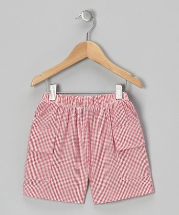 Red Gingham Cargo Shorts - Toddler & Boys