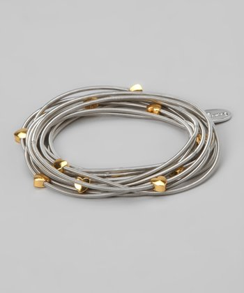 Silver & Gold Heart Piano Wire Stretch Bracelet Set