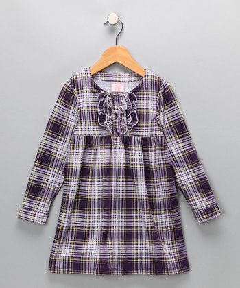Purple Plaid Dress - Toddler