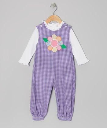 White Tee & Purple Flower Gingham Overalls - Infant