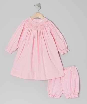Pink Flower Gingham Bishop Dress & Bloomers - Infant