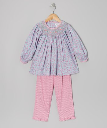 Blue Floral Smocked Tunic & Pants - Infant