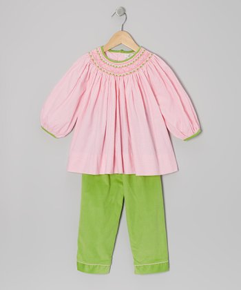 Pink Bishop Tunic & Green Corduroy Pants - Infant