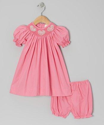 Pink Heart Bishop Dress & Bloomers - Infant