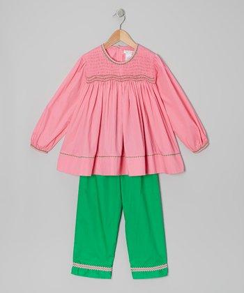 Pink Smocked Tunic & Green Pants - Infant, Toddler & Girls