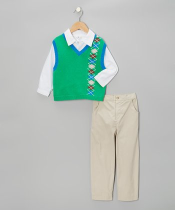 Green Argyle Sweater Vest Set - Infant & Toddler