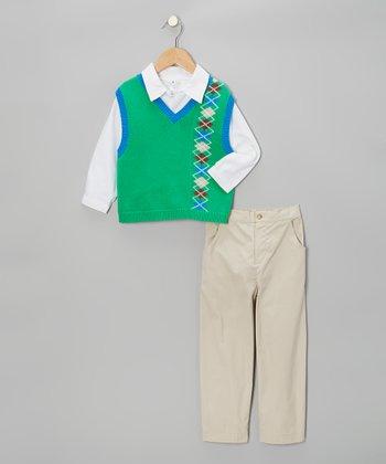 Green Argyle Sweater Vest Set - Infant