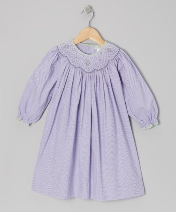 Purple Gingham Bishop Dress - Toddler