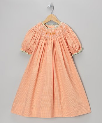 Orange Pumpkin Gingham Bishop Dress - Girls