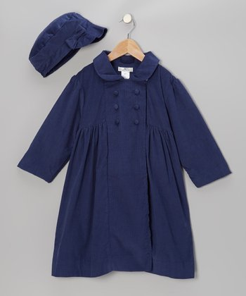 Navy Corduroy Babydoll Coat & Newsboy Hat - Infant