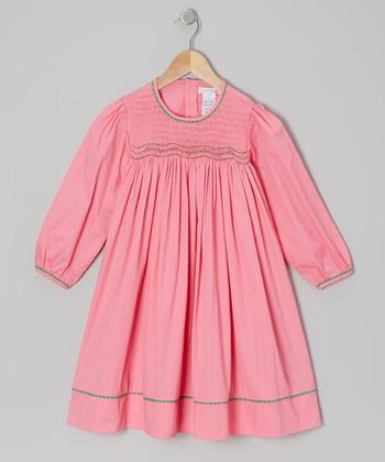 Pink & Green Bishop Dress - Toddler & Girls