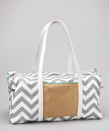 Gray & White Zigzag Duffel Bag