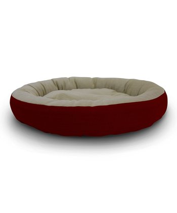 Red Round Cuddler Pet Bed