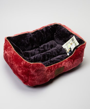 Red & Black Fur Cuddler Pet Bed
