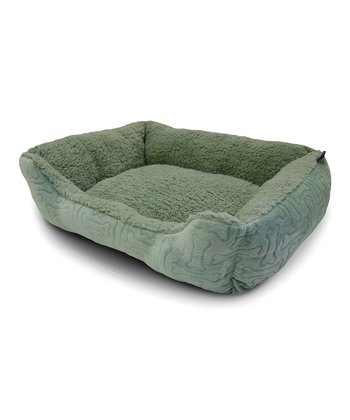 Green Embossed Bone Cuddler Pet Bed
