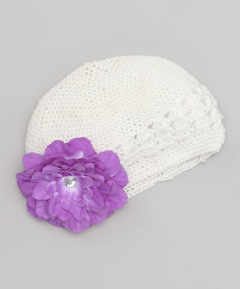 Off-White & Purple Flower Beanie