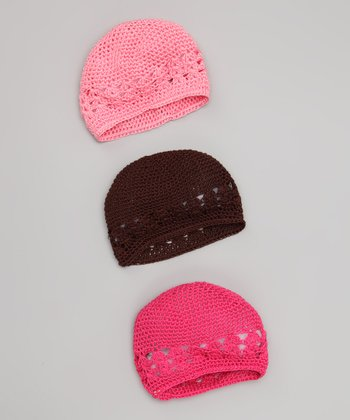 Pink & Brown Beanie Set