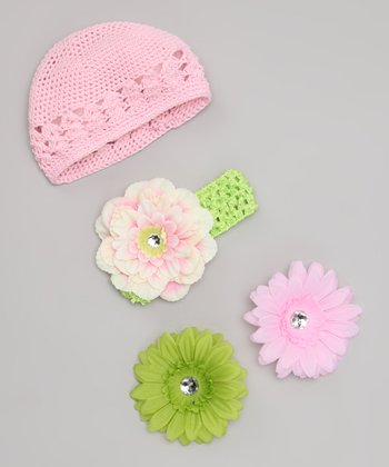 Lime & Pink Flower Headband Set