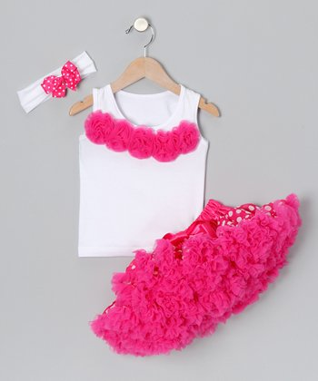 Hot Pink Polka Dot Supreme Pettiskirt Set - Infant