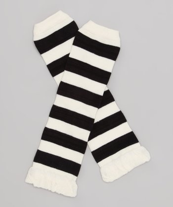 Black & Off-White Stripe Leg Warmers