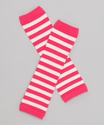 Hot Pink & Off-White Stripe Leg Warmers