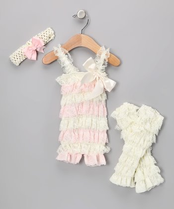 Cream & Light Pink Lace Romper Set - Infant