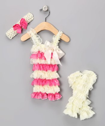 Cream & Pink Lace Romper Set - Infant & Toddler