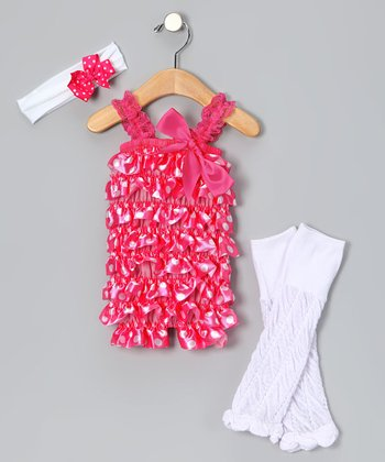 Hot Pink Polka Dot Romper Set - Infant & Toddler