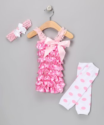 Light Pink Polka Dot Romper Set - Infant