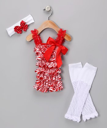 Red & White Ruffle Romper Set - Infant