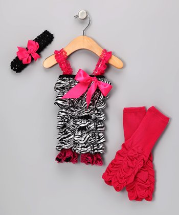Black & Hot Pink Zebra Romper Set - Toddler