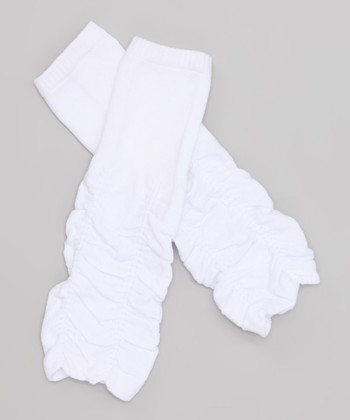 White Ruched Leg Warmers