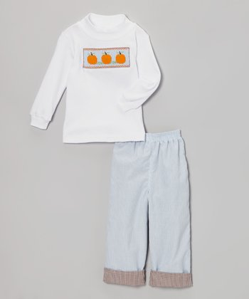 White Pumpkin Top & Blue Reversible Pants - Infant & Toddler