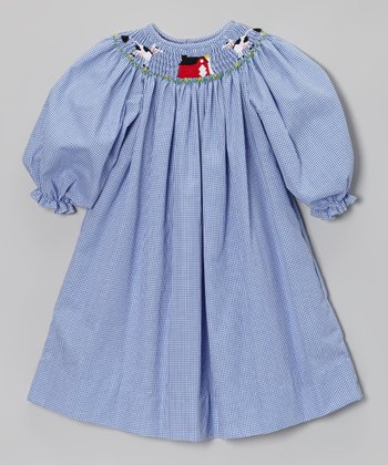 Royal Gingham Cows Bishop Dress - Infant, Toddler & Girls
