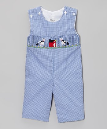 Royal Gingham Farmer's Cows Playsuit - Infant & Toddler